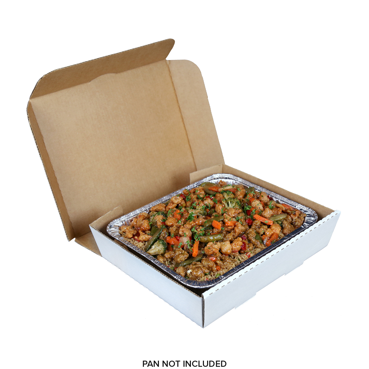 "Half Pan White 13"" x 10-7/8"" x 3"" Corrugated Catering Box, Case of 50"