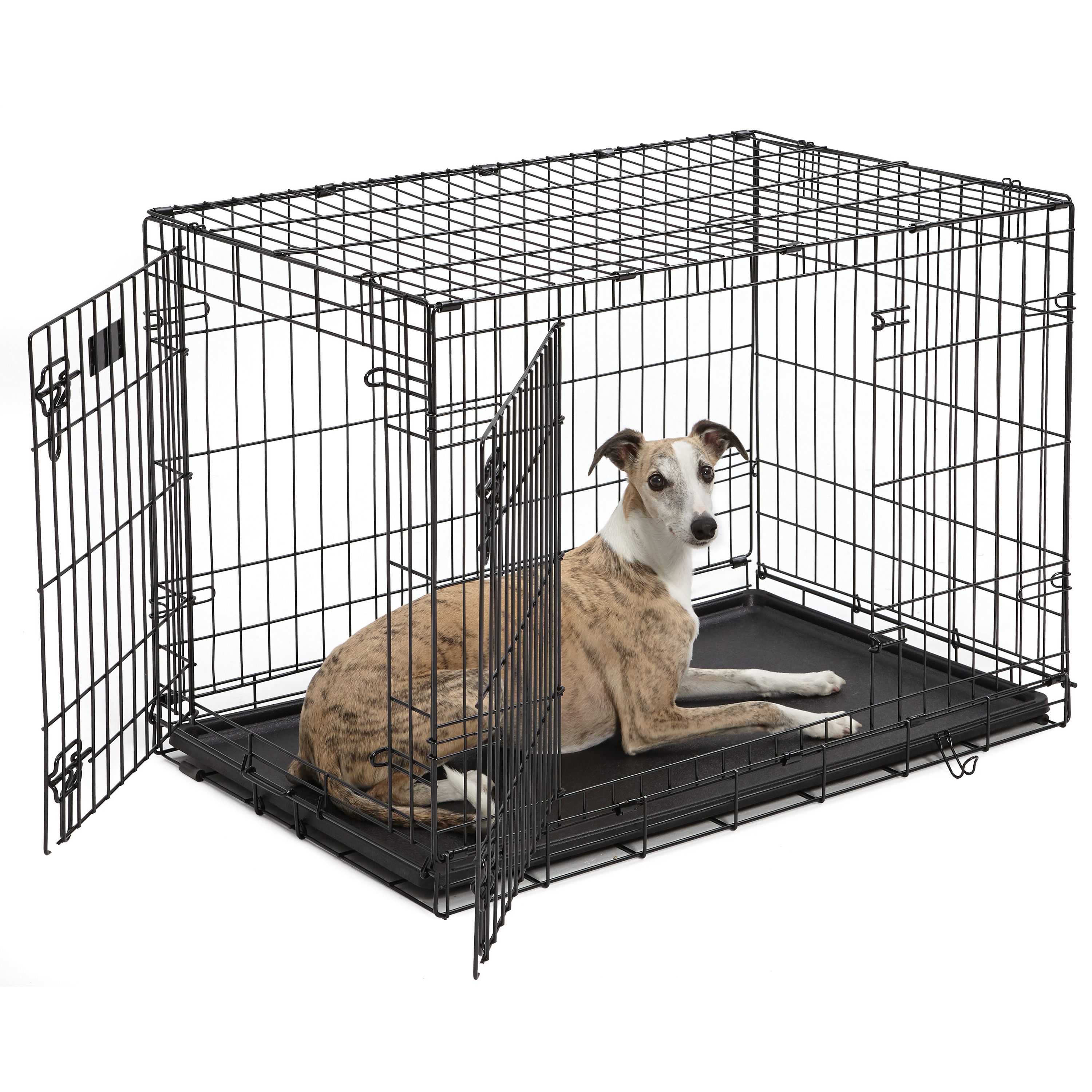 Double Door iCrate Metal Dog Crate, 36-Inch, Black