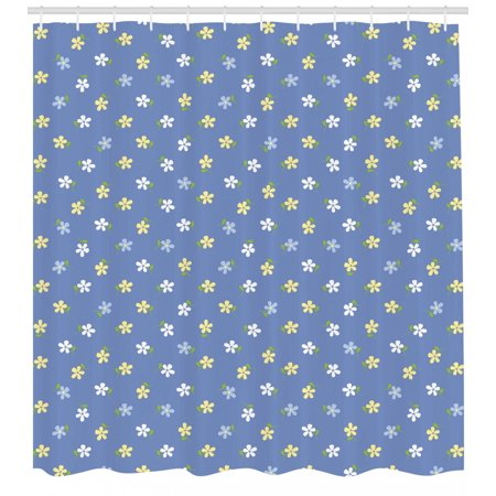 Floral Shower Curtain White And Yellow Cute Small Daisy Flowers Spring Garden Theme Fabric Bathroom Set With Hooks Pale Violet Blue