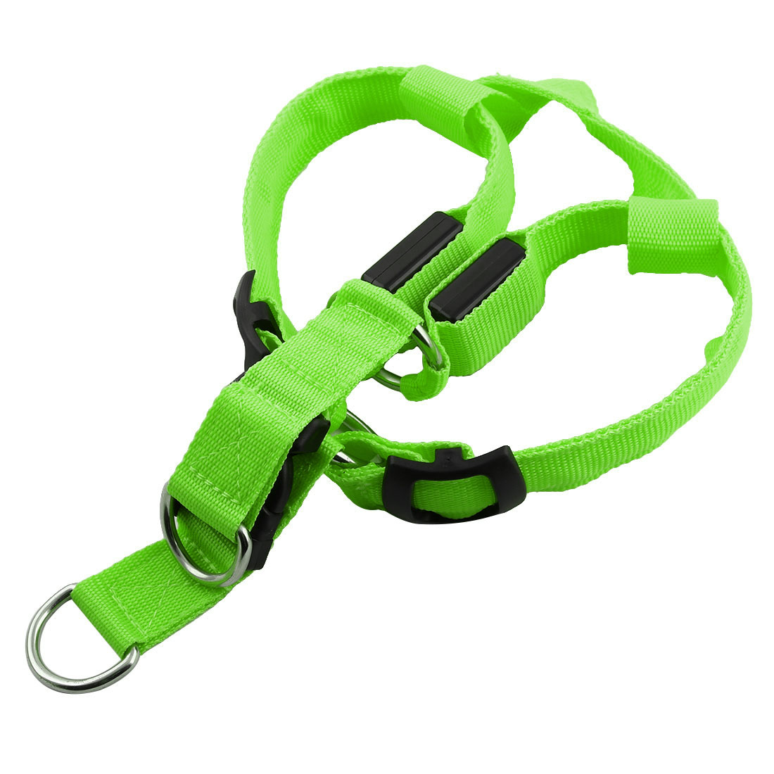 Pet Dog Puppy Nylon LED Flashing Light Night Safety Adjustable Chest Strap Green