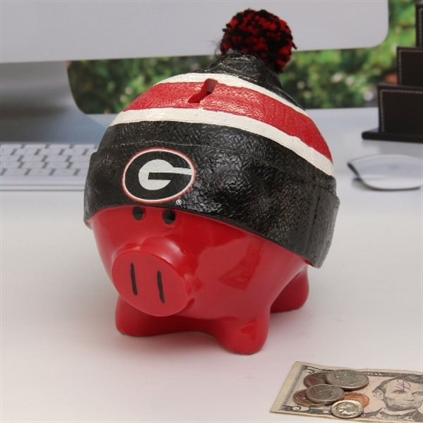 Georgia Bulldogs Piggy Bank Large With Hat by Forever Collectibles