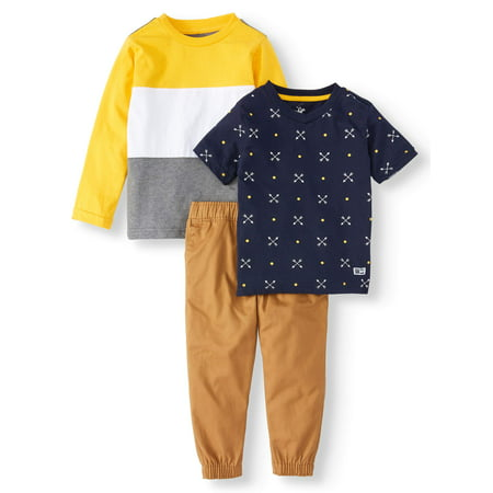 80s Outfit Male (Toddler Boys' Long Sleeve Colorblock T-Shirt, Short Sleeve Allover Print T-Shirt and Twill Jogger, 3-Piece Outfit)