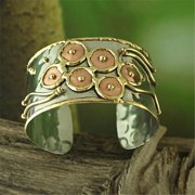 Rishi Alexander USFB1200 Wide Brass and Copper 'Flowing Circles' Cuff Bracelet