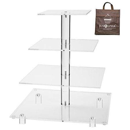 Jusalpha® 4 Tier Square Acrylic Cupcake Tower Stand-Cake Stand-Dessert Stand-Cupcake holder-Pastry serving platter-Cupcake Tower for Wedding-Party Supply(4 Tier With Rod Feet) - Cupcakes Stand