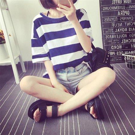 High Quality Women's Loose Stripe T-shirt Short Shirt Short Sleeve Tops T-Shirt Best Chrimas Gift