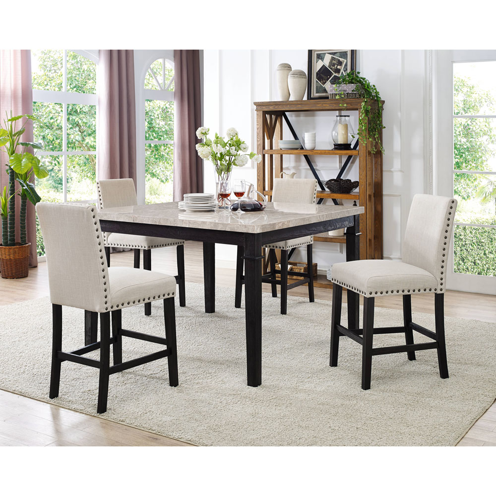 Cambridge Azul 5-Piece Dining Set with Fabric Chairs