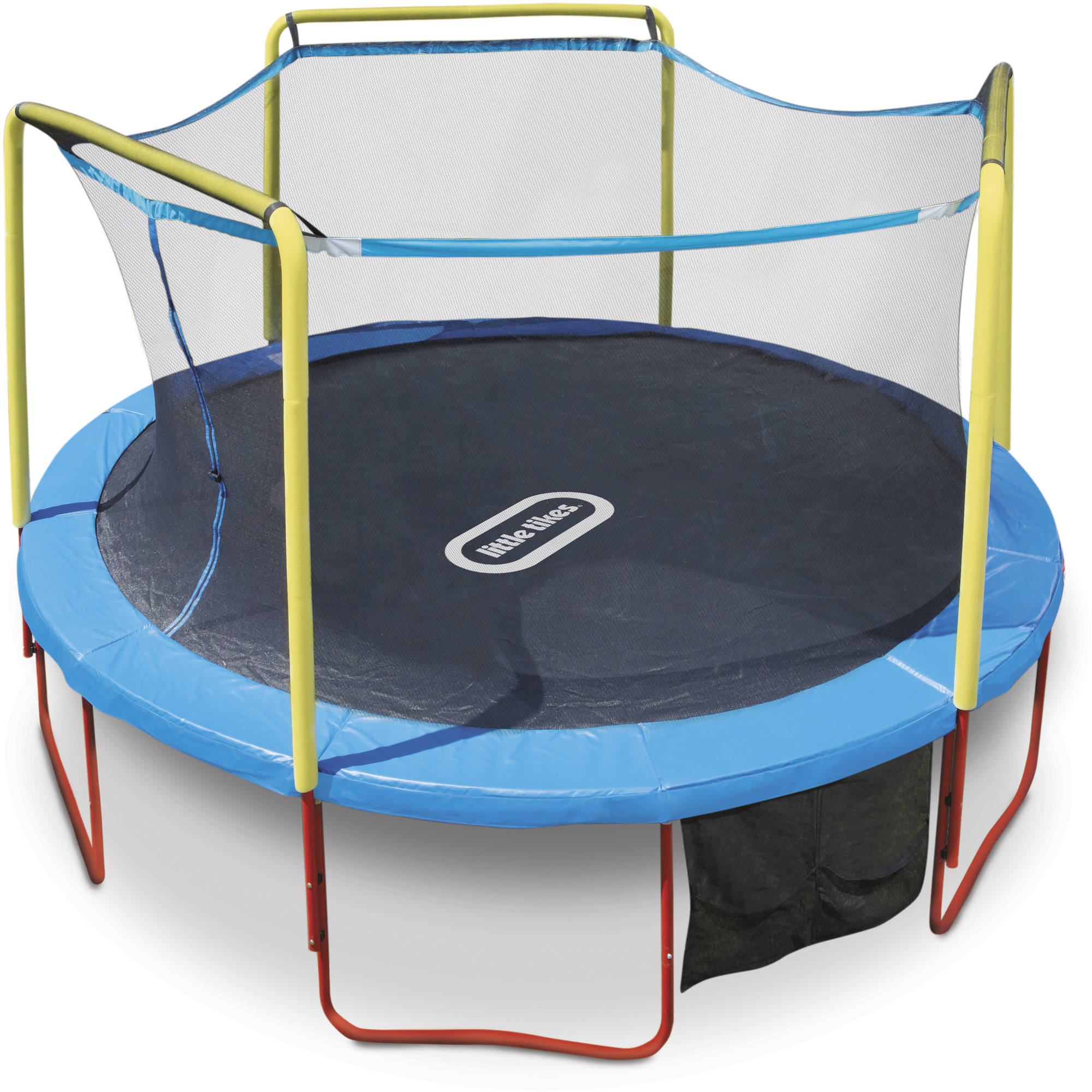 Little Tikes Huge Bounce 14-Foot Trampoline, with Safety Enclosure, Blue/Yellow/Red