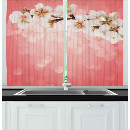 Coral Curtains 2 Panels Set, Blossoming Tree Branch Japanese Cherry Sakura Fresh Spring Garden Romantic, Window Drapes for Living Room Bedroom, 55W X 39L Inches, Coral Green White, by Ambesonne