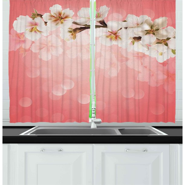 Coral Curtains 2 Panels Set, Blossoming Tree Branch
