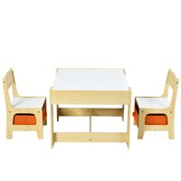 Costway Kids Table Chairs Set With Storage Boxes (Nature)