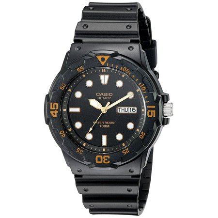 Men's MRW200H-1EV Dive Watch with Black Band, Black watch with orange contrasts featuring luminous hour hands, date window at three o'clock, and non-click.., By Casio ()