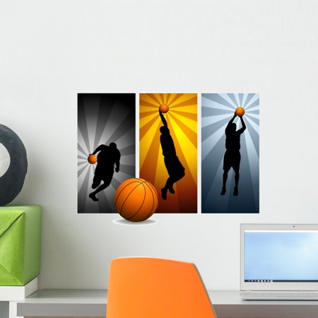 Vector Basketball Players 2 Wall Mural by Wallmonkeys Peel and Stick  Graphic (18 in W x 13 in H) WM23802