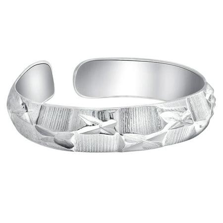 Gem Avenue 925 Sterling Silver Polished Finish Faceted Designer 3mm wide Toe (Gemstone Silver Toe Ring)