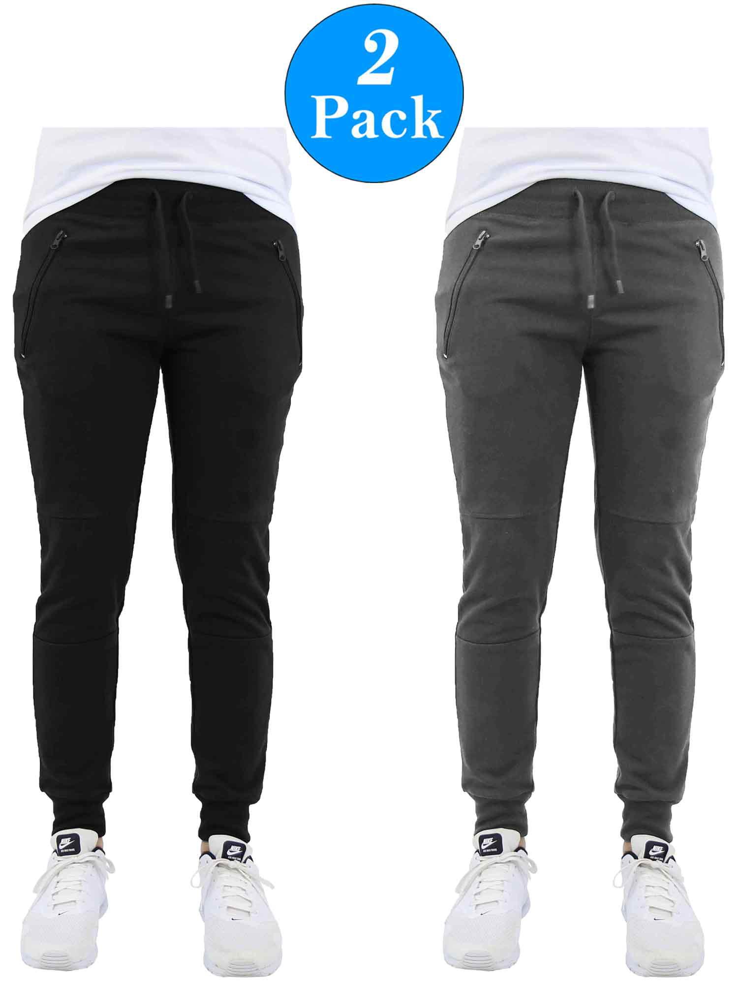 Men's Slim-Fit Jogger Sweatpants With Zipper Pockets (2-Pack)