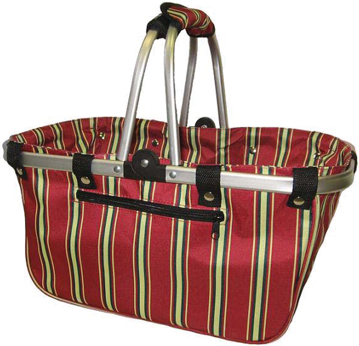 "JanetBasket Red Stripes Large Aluminum Frame Basket, 18"" x 10"" x 9.5"""