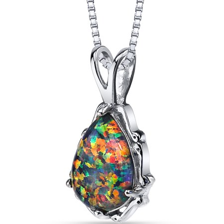 1.00 Carat T.G.W. Pear Cut Black Opal Rhodium over Sterling Silver Pendant, 18