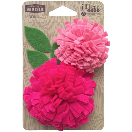 Jillibean Soup Mix The Media Felt Flowers 2/Pkg-Playful (Make Felt Flowers)