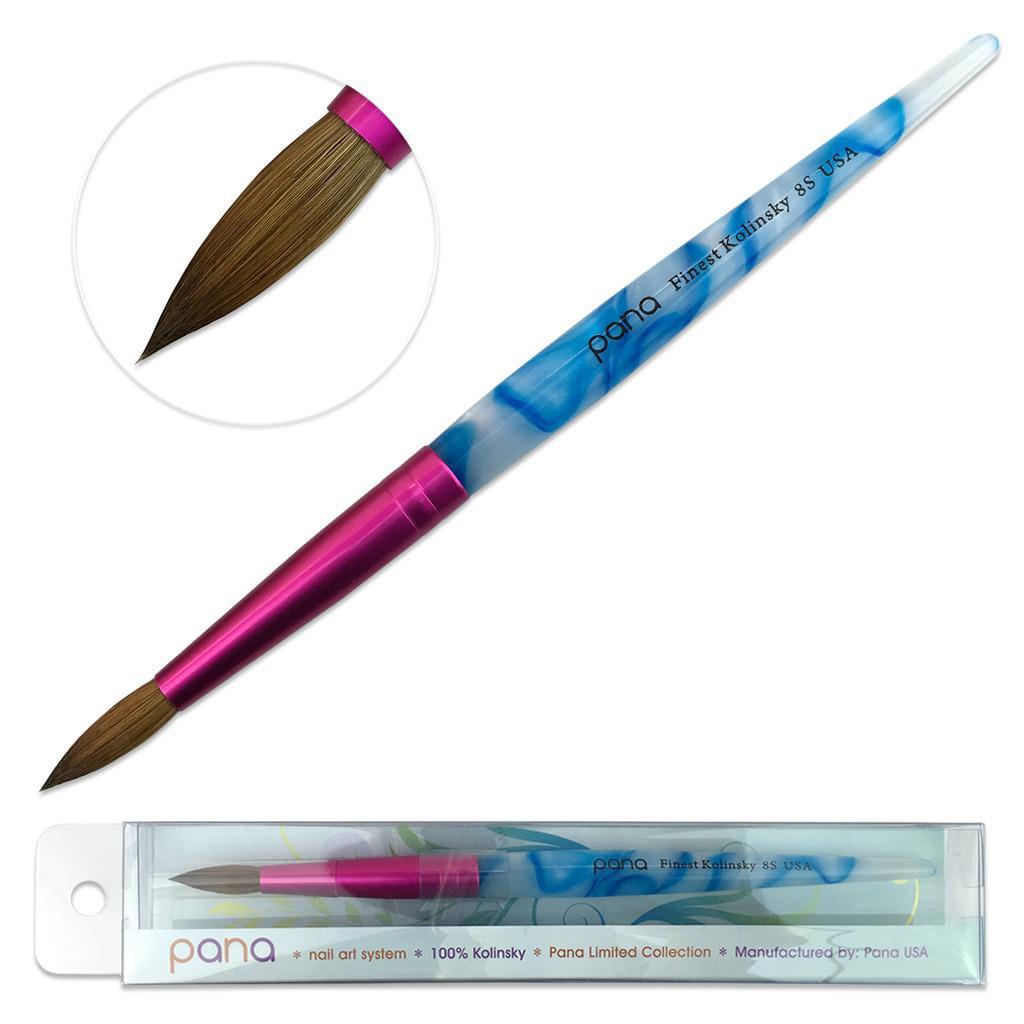 Pana Kolinsky Nail Brush with White and Blue Swirl Acrylic Handle - Size 8