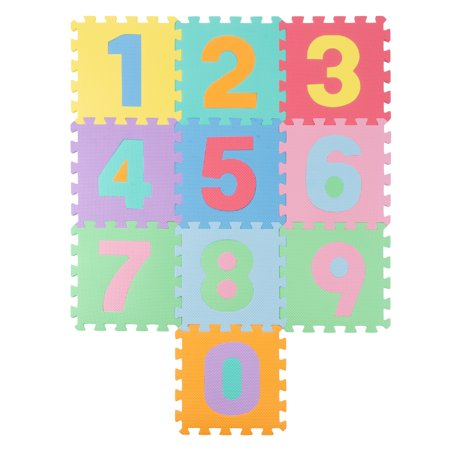 Foam Number Crawling Mat- Nontoxic EVA Soft Mat for Learning 0-9 Numbers and Counting for Babies and Toddlers with 10 Colorful Squares by Hey! Play!](Foam Numbers)