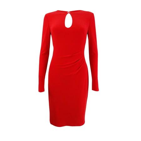 Lauren Ralph Lauren Women's Keyhole Jersey Dress (0, Red)