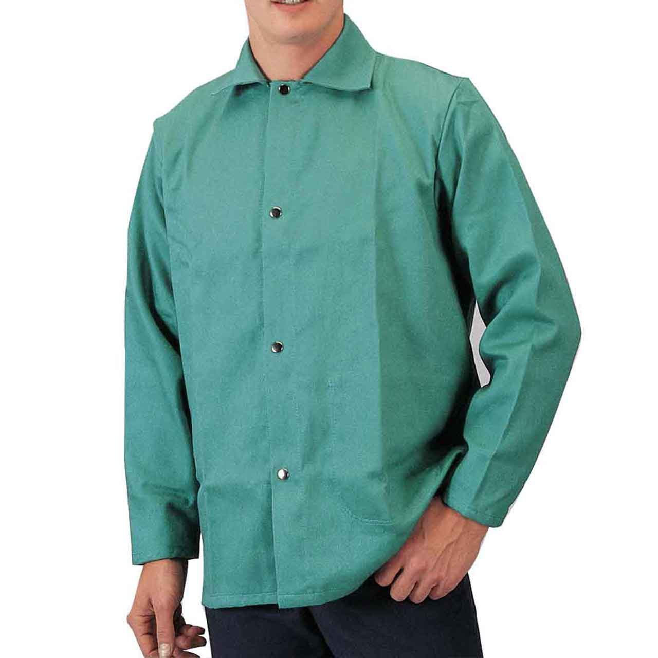 "Tillman 6230 30"" 9 oz. Green FR Cotton Welding Jacket, Large"