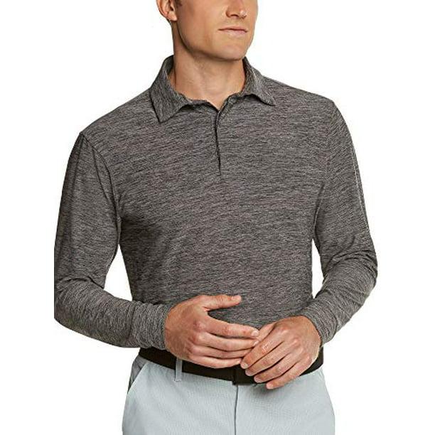Men's Dry Fit Long Sleeve Golf Shirt - Quick Dry Polo Shirts - UPF 30, Stretch Fabric Black