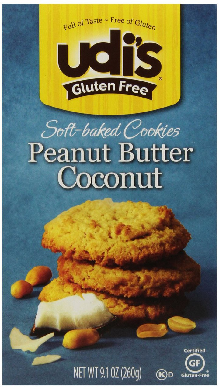 6 PACKS : Udi's Soft Baked Cookies Peanut Butter Coconut 9.1 OZ by