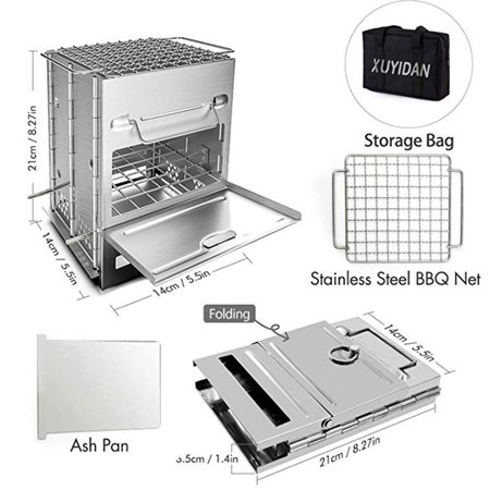 AIHOME Stainless Steel Square Stove Foldable Grill Adjustable Outdoor Mini Charcoal Stove BBQ Grill - image 2 de 9