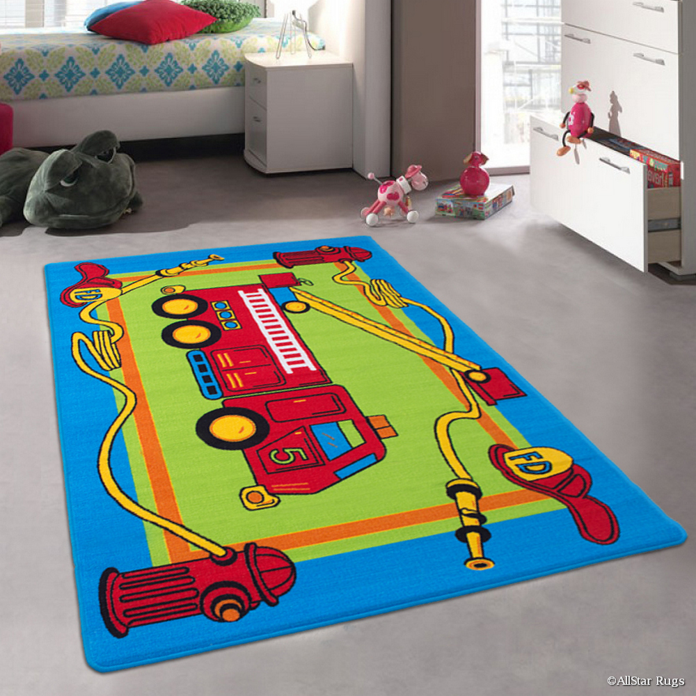NITRO Allstar Kids / Baby Room Area Rug. Fire Truck Green...