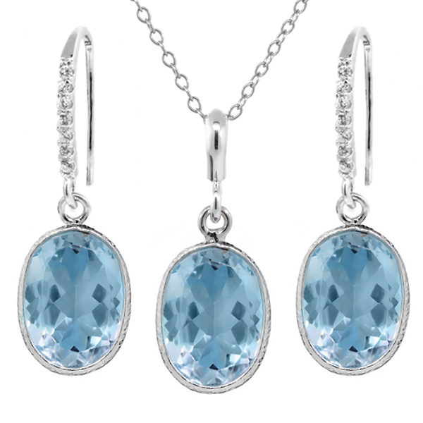 "21.00 Ct Blue Topaz 10x14mm Oval Shape Silver Pendant and Earrings Set 18"" Chain by"