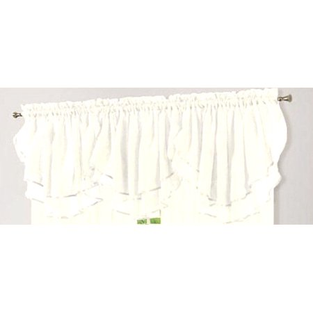 Ujena Sheer Double Dip (Set of 3 Chelsea Double Sheer Voile Ascot Valances with Satin Band, White )