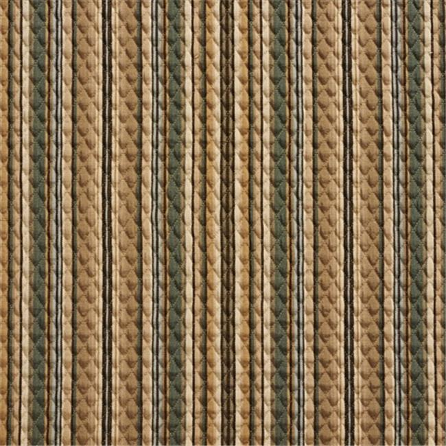 Designer Fabrics A353 52 in. Wide Teal And Beige Matelasse Quilted Striped Upholstery Fabric