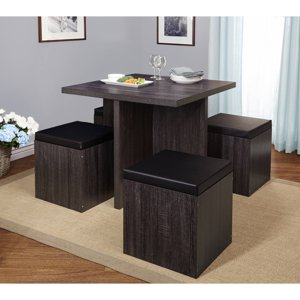 5-Piece Baxter Dining Set with Storage Ottoman, Multiple Colors