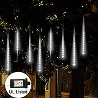 LED Meteor Shower Rain Lights, Falling Rain Lights UL Listed Plug, 30cm 8 Tube 144 LED Falling Rain Drop Icicle String Lights, Snow Falling Lights for Christmas Holiday Outdoor Decor (White)