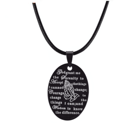 - Serenity Prayer With Praying Hands Stainless Steel Gunmetal Color Necklace Pendant, J-146-B