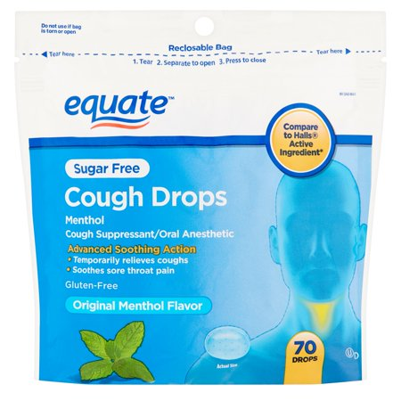 Equate Sugar Free Original Flavor Cough Drops  70 Ct