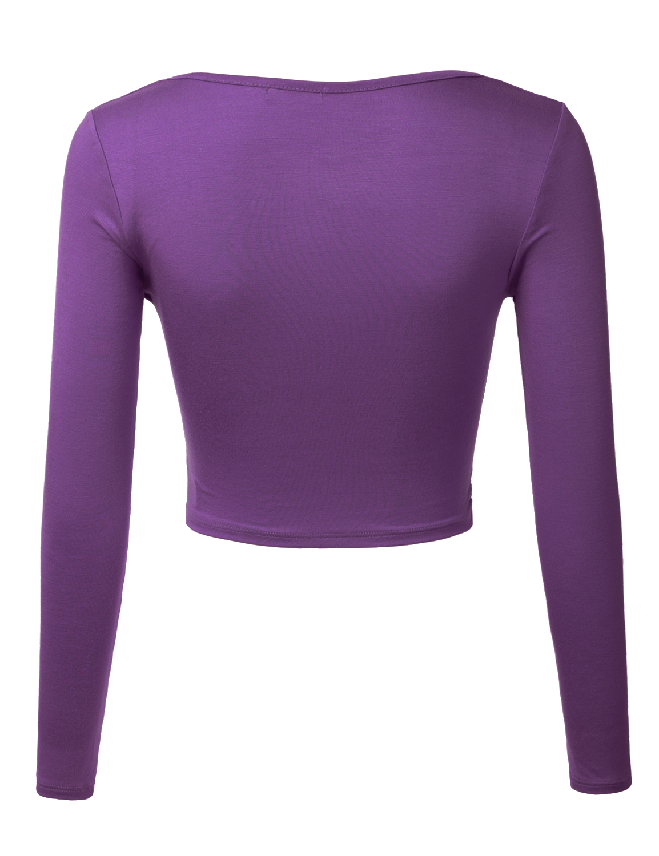 fe0c9f071e0 Doublju - Doublju Women s Womens Basic Long Sleeve Cami Crop Top Fitted  Shirt EGGPLANT 2XL Plus Size - Walmart.com