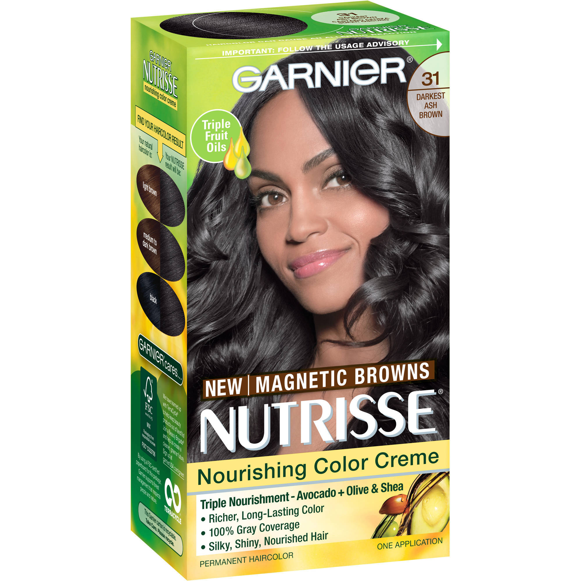 Garnier Nutrisse Nourishing Color Creme, 31 Darkest Ash Brown