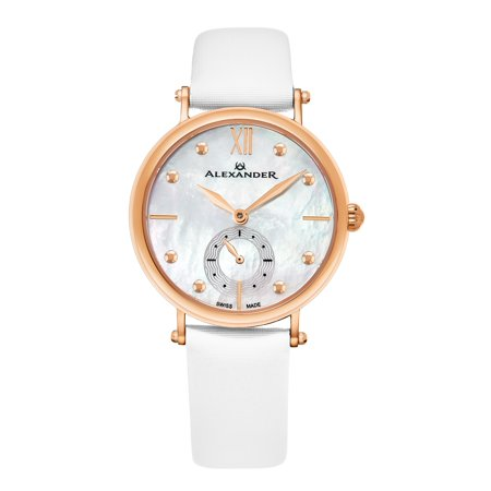 Monarch Roxana Womens MOP Dial Swiss White Satin Leather Watch (Leather White Mop Dial)