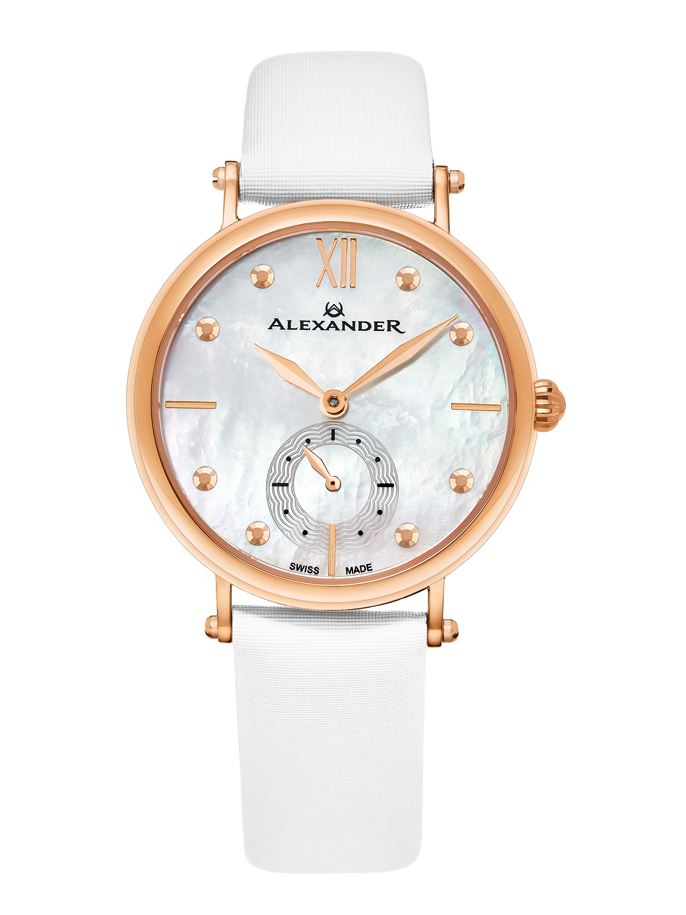 Alexander Monarch Roxana White Mother of Pearl Large Face Stainless Steel Plated Rose Gold Watch For Women - Swiss Quartz White Satin Leather Band Elegant Ladies Dress Watch A201-03