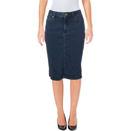 Lauren Ralph Lauren Womens Petites Casual Knee-Length Denim Skirt Blue 6P