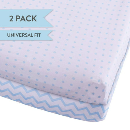 Changing Pad Cover Set   Cradle Sheet Set 100% Cotton Jersey Knit 2 Pack Blue Chevron and Polka Dots
