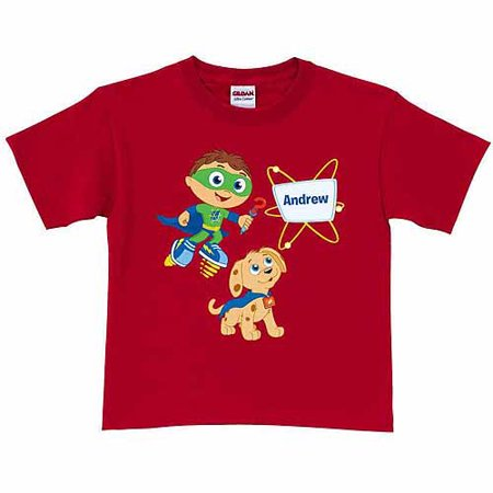Personalized Super Why! & Woofster Bark-a-rooney! Toddler Boy T-Shirt, Red