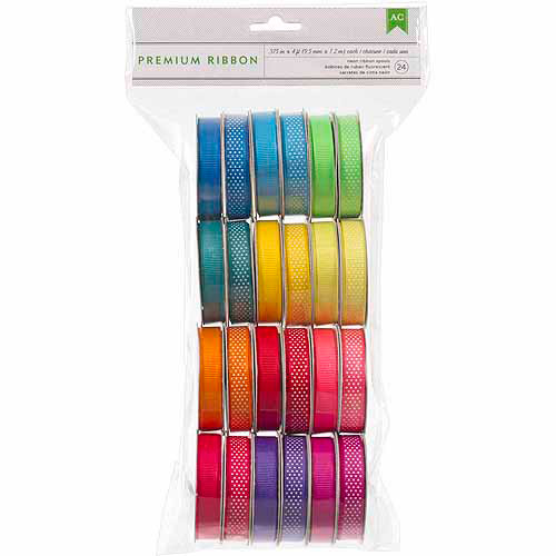 American Crafts Value Pack Premium Ribbon, 24 Spools, Neon