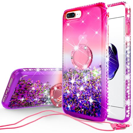 iPhone 7 Case, iPhone 8 Case, Liquid Floating Quicksand Glitter Phone Case Girls Kickstand,Bling Diamond Bumper Ring Stand Protective Pink iPhone 7/8 Case for Girl Women, Hot Pink
