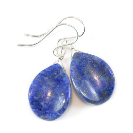 Lapis Earrings Denim Blue Lapis Lazuli Smooth Cut Curved Petal Long Teardrop Sterling