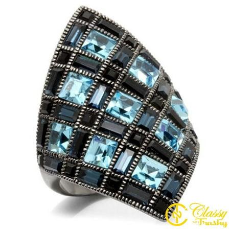 Aqua Brass Crystal (Classy Not Trashy® Size 9 Aqua Marine Crystal Brass Ruthenium Ring)