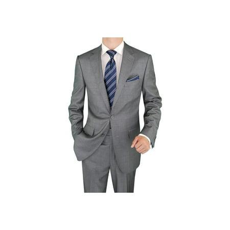 Salvatore Exte Men's Suit Two Button Blazer Plus Flat Front Pants Gray Windowpane