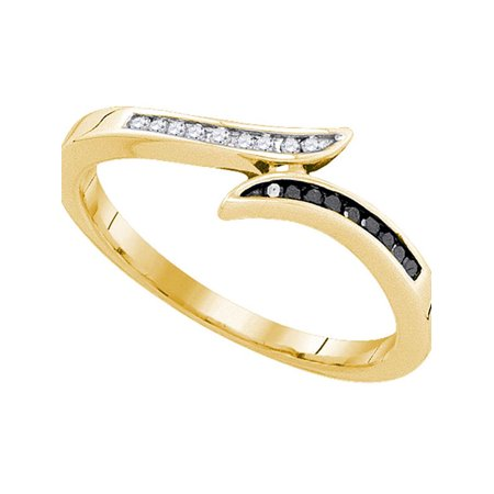 10k Yellow Gold Black Color Enhanced Diamond Womens Slender Bypass Band Ring Unique 1/10 Cttw - image 1 of 1