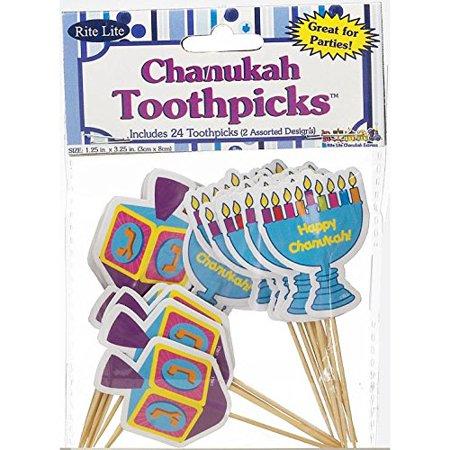 1 X Hanukkah Themed Toothpicks, Includes 24 Wood Toothpicks - 12 Menorah Design and 12 Draydel Design By Rite Lite,USA ()